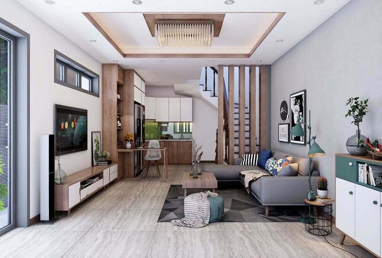 Thiết kế phòng khách kết hợp phòng bếp cho nhà phố nhỏ